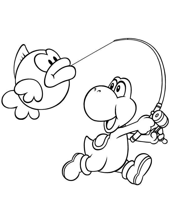 Catch A Fish Coloring Pages 001 Mario Bros Para Colorear Yoshi