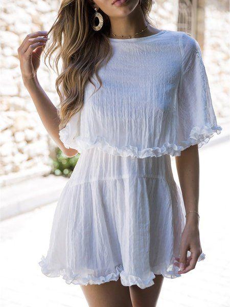 ad6c38caa62 Buy Casual Dress For Women at JustFashionNow. Online Shopping JustFashionNow  Women Casual Dress Crew Neck Swing Daily Dress Frill Sleeve Paneled Dress