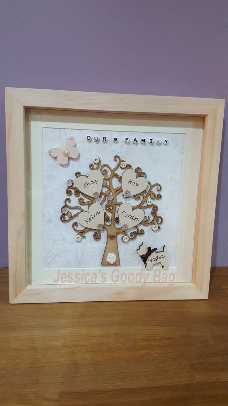 Personalised family trees inside a box frame.