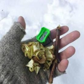 Camping - Bring a pencil sharpener to make easy kindling for fire out of a small stick! - This is brilliant