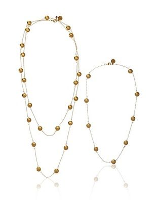 Blee Inara 18K Gold-Plated Flat Bead Necklace Set
