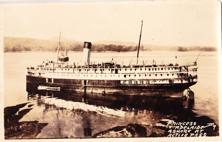 CPR Princess Adelaide aground at the entrance to Active Pass on Mayne Island circa 1918.