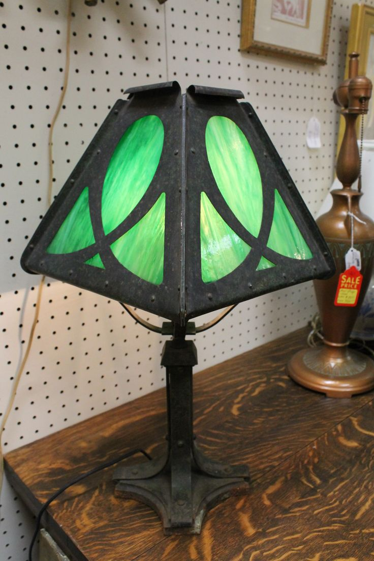 Sold 295 Vintage Antique Arts And Crafts Style Lamp C