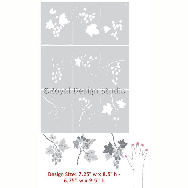 Stencils   Grape Clusters Fruit Stencil   Royal Design Studio