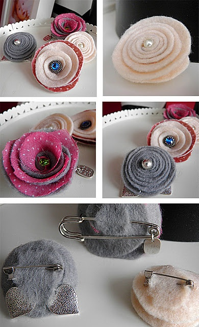 pins with felt flowers