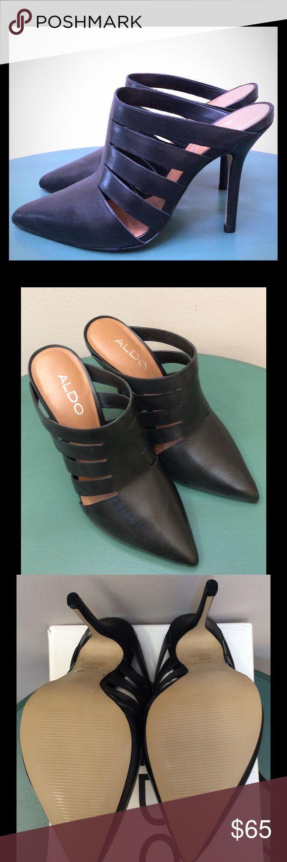 Women's Black Aldo Heel Mules *Never Worn* Black Aldo Heeled Mules size 6 Aldo Shoes Mules & Clogs