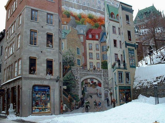 A Huge Wall Mural In Rue Notre Dame, Québec, Canada. (click For
