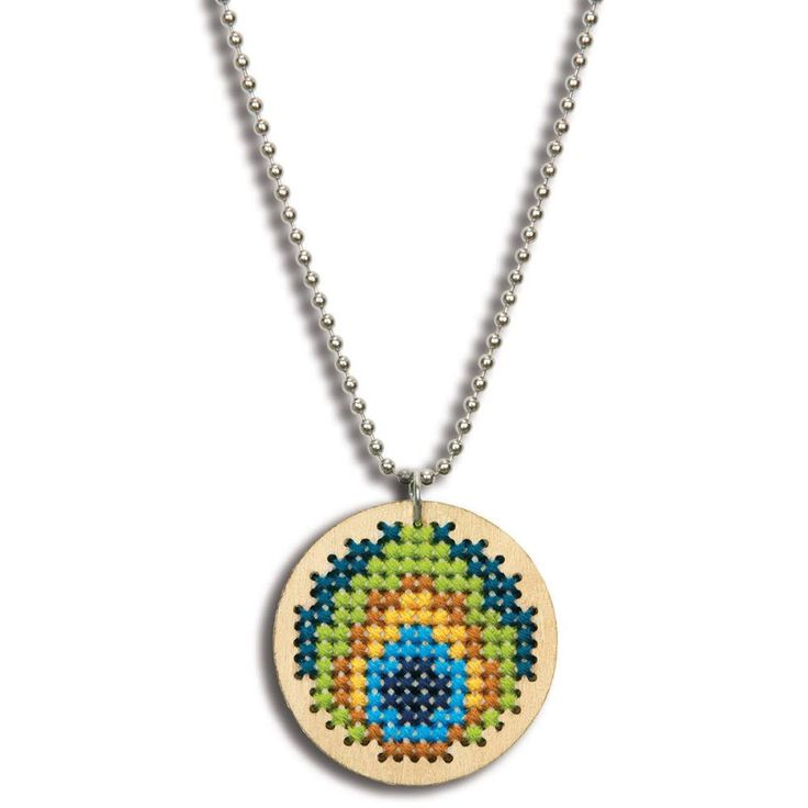 """Large Wooden Jewelry Counted Cross Stitch Kit-1.625"""" Round Peacock Pattern"""