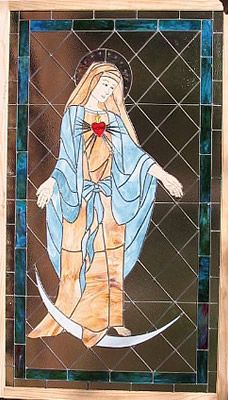 9' Mary window for a private chapel in West Palm Beach. Original design by Kelly Haggard Olson. All Rights Reserved.