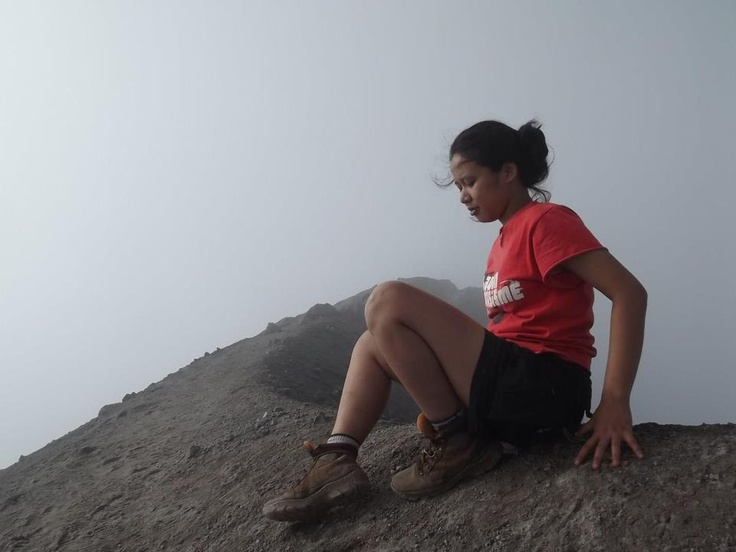 be a risk girl, sitting on the edge of the crater Merapi volcano - Central Java - Indonesia. #BeMERRELL #hiking