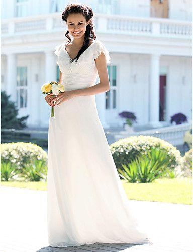 Sheath/ Column V-neck Floor-length Chiffon Elastic Satin Wedding Dress - USD $ 178.19