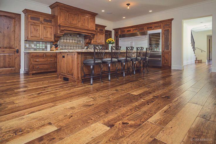 Custom Hand-Scraped Hickory Floor in Cupertino | Wide Plank Hardwood Floors | Oak & Broad