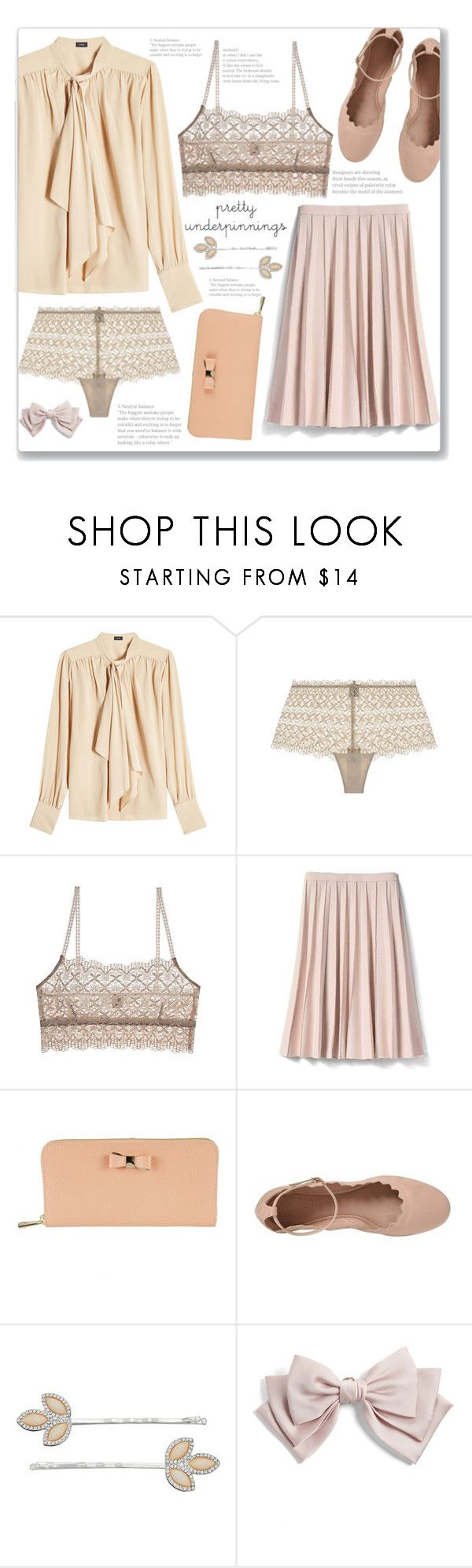 """""""Just Peachy"""" by linlizzy ❤ liked on Polyvore featuring Joseph, Only Hearts, Banana Republic, Furla, Chloé, LC Lauren Conrad, Cara and vintage"""