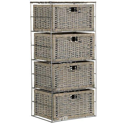 Buy John Lewis Split Willow 4 Drawer Storage Unit, Grey Online at johnlewis.com