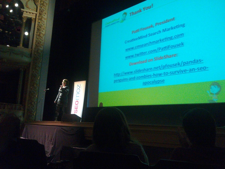 Patti Fousek on stage at #Mozcation #03801Moz