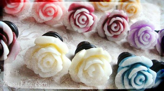 Rose Plugs for Gauged Ears Sizes 00g, 0G, 2G, 4G , 6G, 4mm, 5mm, 6mm, 8mm, 10mm, Also Available For Pierced Ears, Choose Your Color on Wanelo