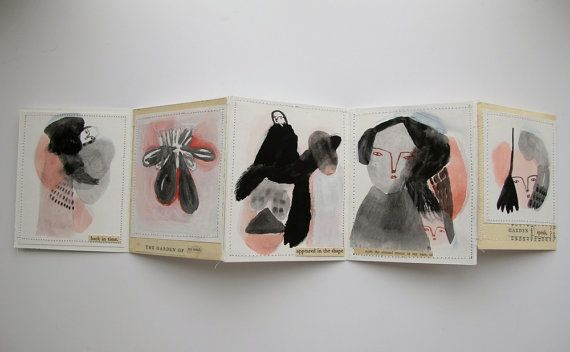 the garden of my mind a mixed media artist book by Cathy Cullis of the UK, on etsy