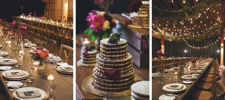 real-wedding-kate-andrew-lightspace-warehouse-banquet-tables-naked-layer-cake-gold-charger-plates-pink-flowers-floral-swag-garland