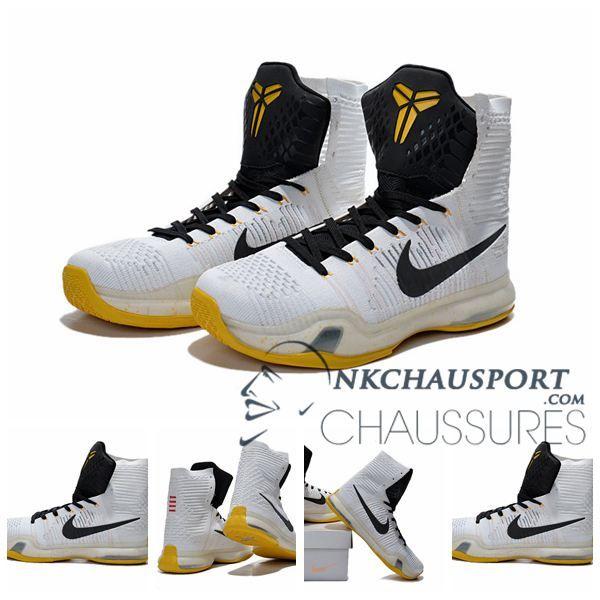 Nike Kobe Bryant 10 | Nouvelle Chaussure De Basket Montante Homme Blanche Noir