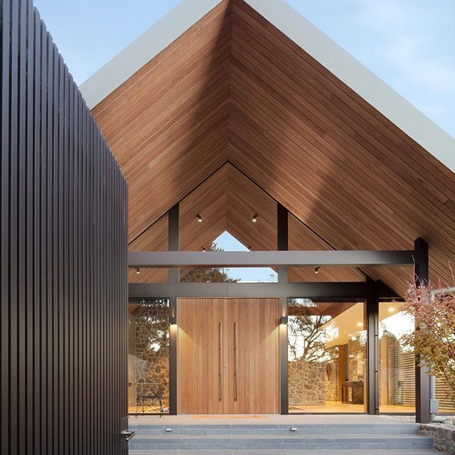 Our contemporary farm house front entry in Red Hill, Victoria.⠀Builder : COJACK Developments ⠀ #architecture #house #redhill #entry #facade #residential #farmhouse #fence #door #timber #garden #housedesign #melbourne #design #matyasarchitects #matyas #photooftheday  ~ Great pin! For Oahu architectural design visit http://ownerbuiltdesign.com