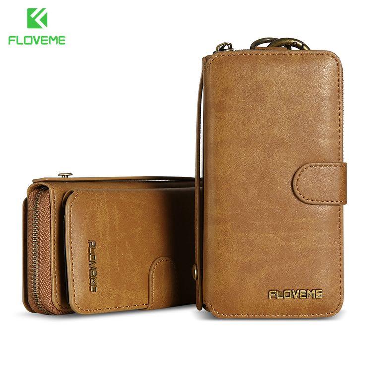 """Лучший продукт из Китая - купить """"FLOVEME старинные кожаный бумажник Телефон Чехол для iPhone 7 7 6 плюс 6 s плюс Ретро Сумка Слот для карты Чехол для Samsung Коке С7 С8"""" только для 29.98 долларов США."""