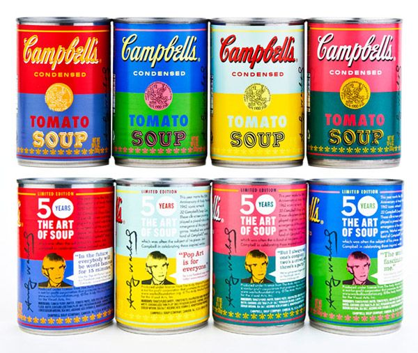 "haha! it comes around in a circle: ""Amazing! Campbell's Soup pairs up with The Andy Warhol Foundation for the Visual Arts to put Warhol's vision of the cans on the actual cans."""