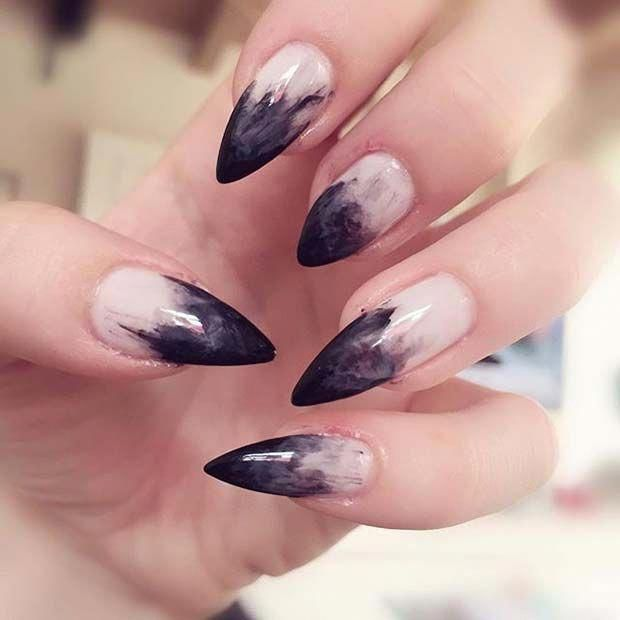 Witch Manicure For Halloween Nail Designs Acrylicnails Gothic Nails Halloween Nail Designs Goth Nails