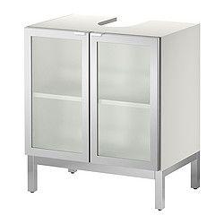 """LILLÅNGEN sink base cabinet with 2 door, aluminum Width: 23 5/8 """" Depth: 15 """" Height: 26 """" Width: 60 cm Depth: 38 cm Height: 66 cm"""