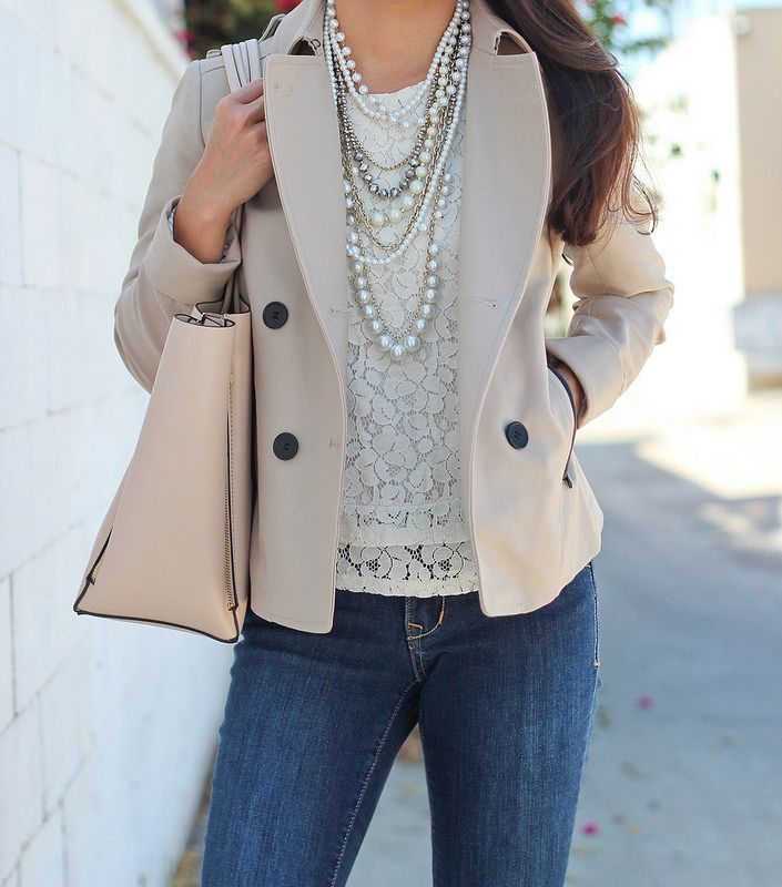 Classic Cropped Trench Jacket + Pearl necklace + Lace Top + Jeans + Suede Ankle Booties | Click the following link to see more pics and outfit details: http://www.stylishpetite.com/2014/08/classic-cropped-trench-suede-ankle.html