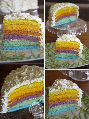 Buon lunedi! Iniziamo la settimana all'insegna del colore e dell'allegrai, perchè questa torta a vedersi è davvero allegra! Una torta a strati multicolor, una torta con 7 colori dell&#8…
