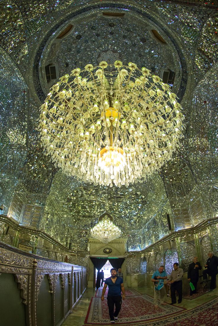 Millions of mirror mosaics inside the Shah Cheragh Mosque, Iran