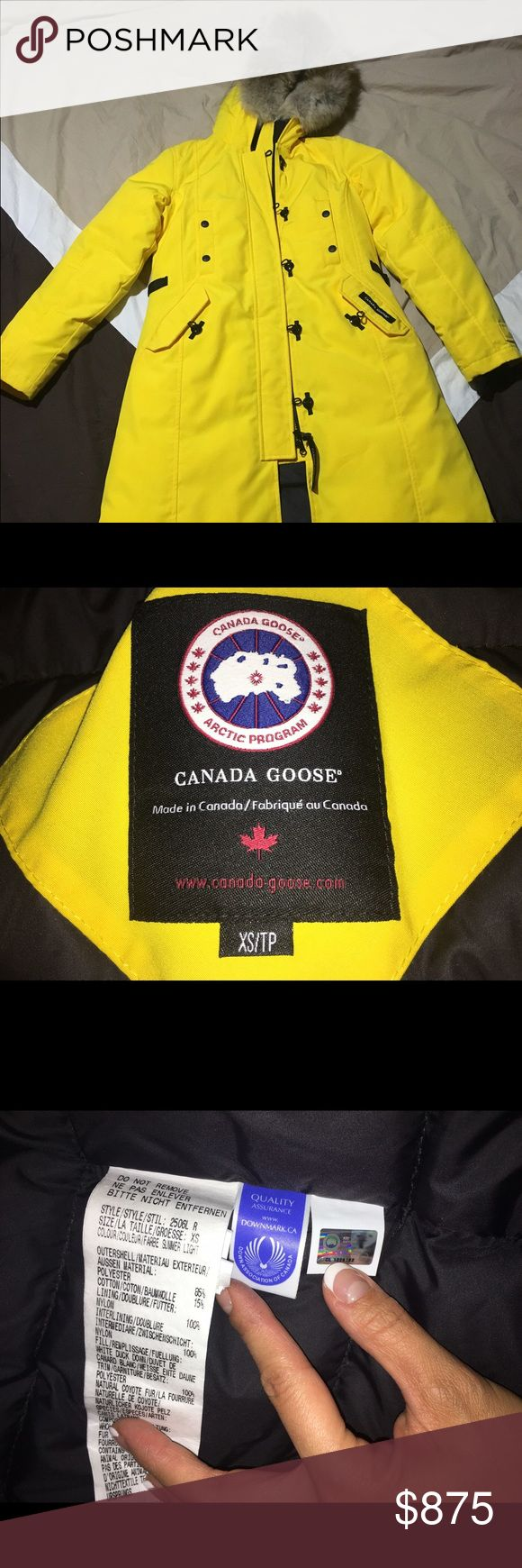 Canada Goose Kensington XS parka- rare yellow! Bought straight from Canada goose with receipt. Worn less than 5 times! The yellow color is not on sale anymore. You cannot find this color anywhere on the web! A rare find act quick! Canada Goose Jackets & Coats Puffers