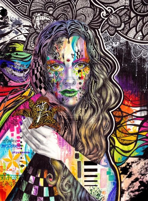 aspen-art:    Flux  by: Elvis882  Mixed media on watercolor paperInspired by the wonderful Minjae Lee (Aka greno89)