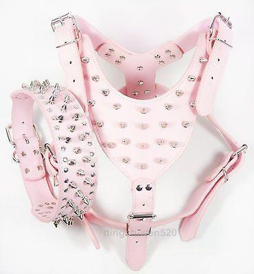 New-Pink-Leather-Spiked-Studded-Dog-Harness-Collar-Set-Studs-Pitbull-Husky-Boxer