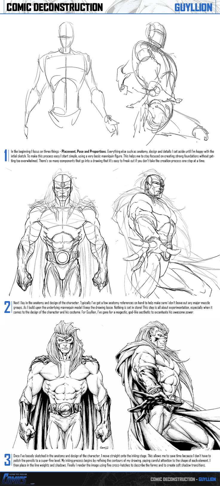 Comic Construction Breakdown - Guyllion by ClaytonBarton