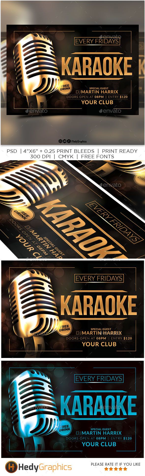 Karaoke Flyer Template PSD #design