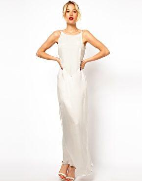 Long white silk slip dress