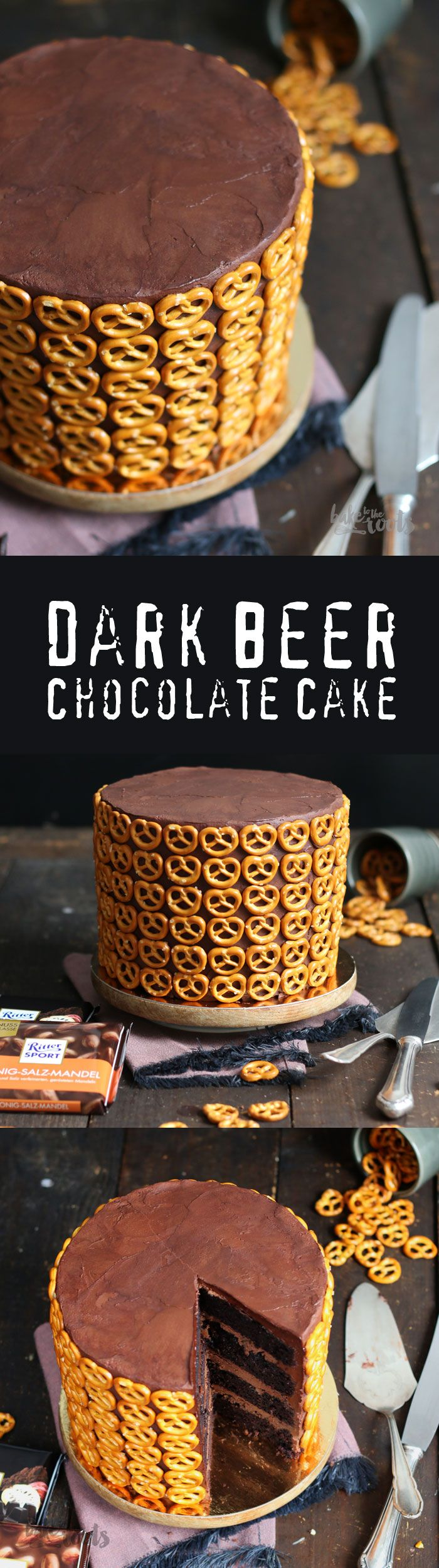 Delicious Dark Beer Chocolate Cake with a Honey-Salted-Almond Ganache Filling and Salted Pretzels | Bake to the roots