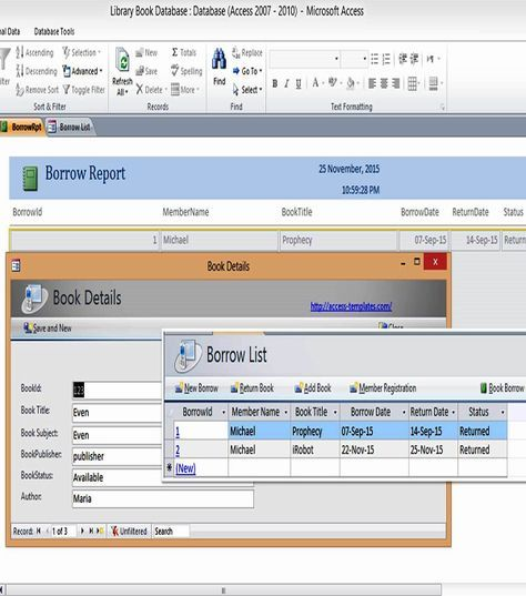 Ms Access Templates Book Library Database Examples