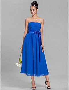 vestido de dama de gasa té de longitud regreso a casa - además de azul real tamaños de una línea-sin tirantes