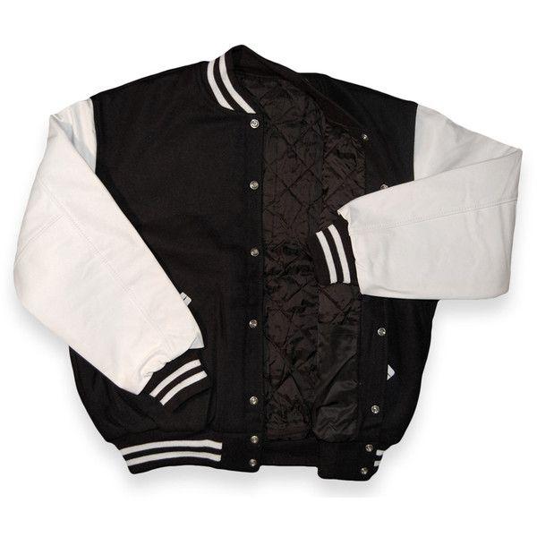Black Wool White Leather Varsity Letterman Jacket $139.99 ($140) ❤ liked on Polyvore
