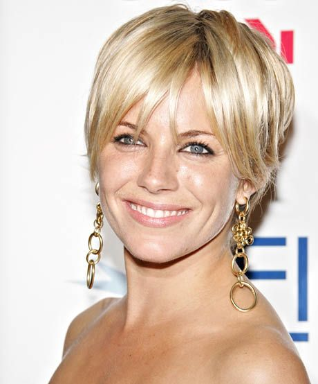 The best celebrity bangs for diamond faces: Sienna Miller chopping her locks for Factory Girl will go down in hair history. Her piecey pixie is just the ticket if you're searching for a cool, easy-to-style cut to enhance your diamond face.