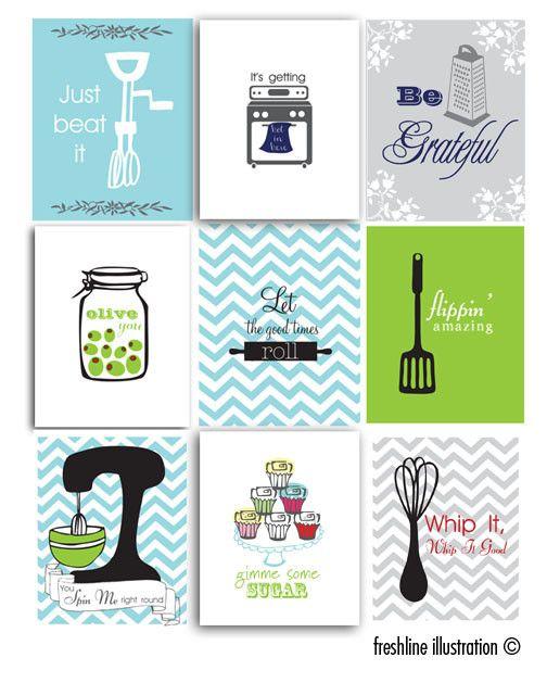 Kitchen Wall Art. Set of nine.8x10 Art Prints. by Freshline ...