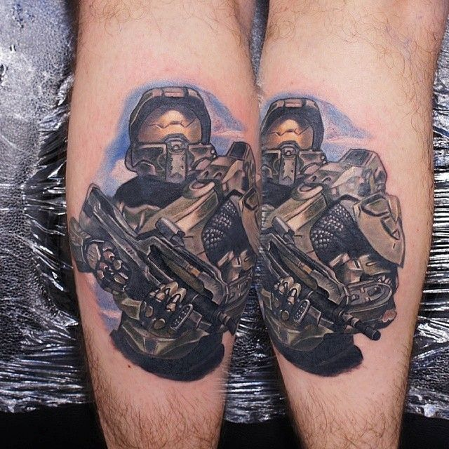 Halo tattoo done by @gordonptattooist.  #tattoos #ink #videogametattoo #gamertattoo #gamerink #videogames #gamer #gaming #xbox #xbox360 #xbox1 #xboxone #masterchief #halo #masterchieftattoo #halotattoo