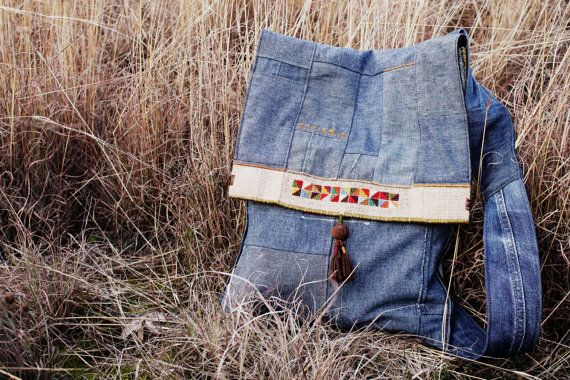 Embroidered cross body jeans by JaraKacaHandmade on Etsy