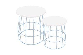 2 Tavolini d'Appoggio Coco Bianco e Blu