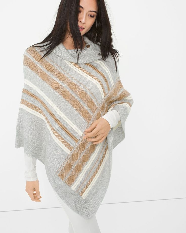 """Our supremely plush poncho is enhanced with the most-glorious pattern and a cozy collar. Stylist Note: As you layer up to battle colder temps, keep things light by wearing this topper with our ecru skimmer jeans.  Fair Isles sweater poncho  Rayon. Machine wash.  Regular: Approx. 31.25"""" from shoulder at longest point Petite: Approx. 28"""" from shoulder at longest point  Imported"""