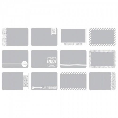 """PROJECT LIFE 4""""X6"""" - PHOTO OVERLAYS 380281 - SET #2 (12 STK)I denne pakken får du 12 stkPHOTO OVERLAYSi serienPROJECT LIFEfraAMERICAN CRAFTS.Pakke med gjennomsiktige kort i størrelsen 10,2cm x 15,2cm.Legges over bilder for å skape en fin effekt, hvert kort har ulik design i hvitt.  AMERICAN CRAFTS-Photo Overlays.Project Life is the quick and easy way to scrapbook! It is about simplifying the process of memory-keeping to save you time ..."""