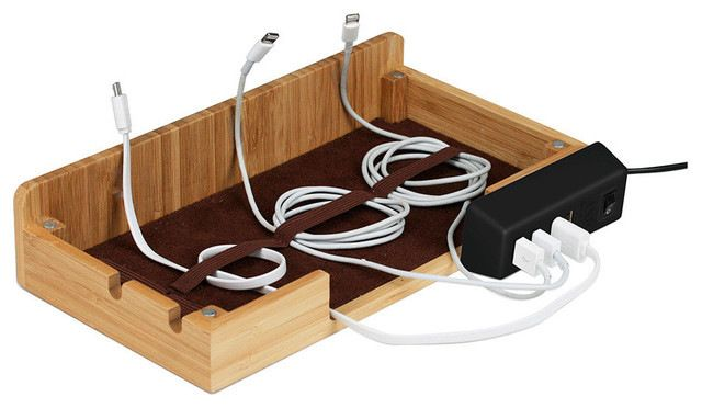 Bamboo Multi-Charging Station, With USB Power Strip contemporary-charging-stations