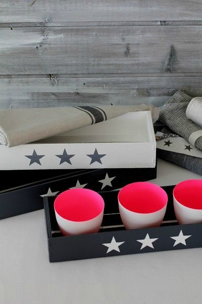 DIY small black and white painted crates with stars